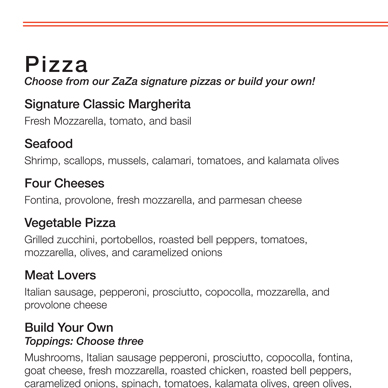 Zaza's Full Color Two-Sided Menu